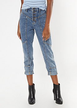 Medium Wash Seamed Mom Jeans