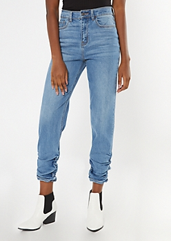 Medium Wash Ruched Ankle Mom Jeans