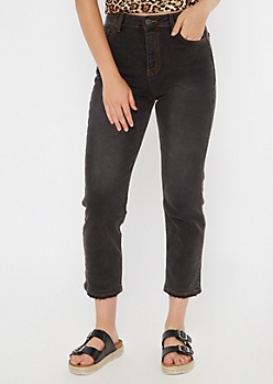 Dark Gray High Waisted Straight Jeans