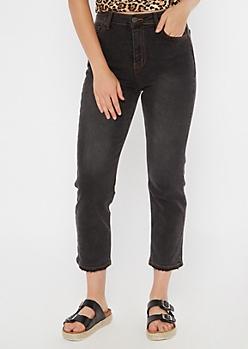 Dark Gray High Waisted Straight Jeans
