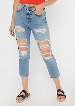 Light Wash High Waisted Ripped Straight Jeans