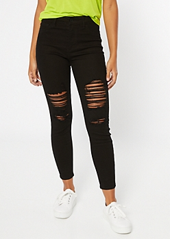 Black Blown Knee High Waisted Jeggings