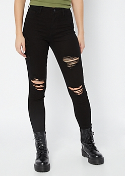 Cello Black Distressed High Waisted Jeggings