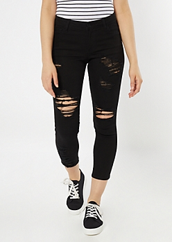 Black Mid Rise Distressed Cropped Jeggings