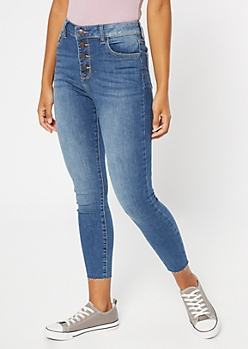 Medium Wash Exposed Button Frayed Skinny Jeans