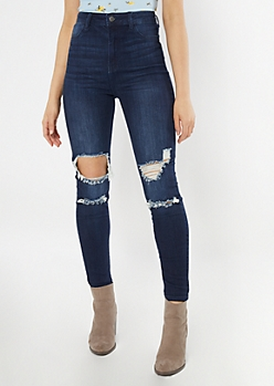 Cello Dark Wash Uber High Waisted Blown Knee Jeggings