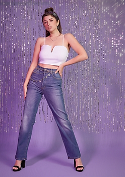 Medium Wash High Waisted Dad Jeans