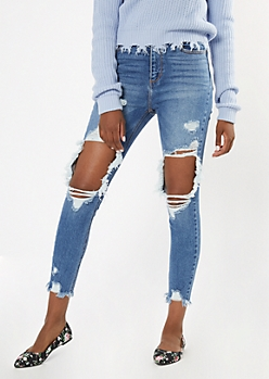 Medium Wash Blown Knee Destructed Hem Skinny Jeans