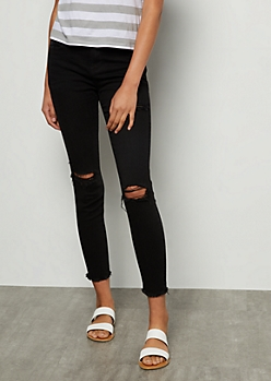 Cello Black Destroyed Mid Rise Frayed Ankle Jeggings