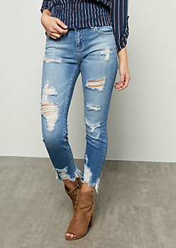 Medium Wash Mid Rise Distressed Frayed Cropped Jeans