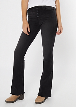 Cello Black Button Fly Flare Jeans