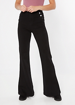 Black Button Pocket Stretch Flare Jeans