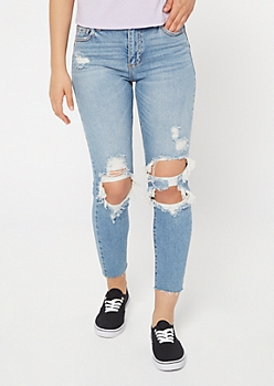 Cello Light Wash High Waisted Ripped Mom Jeans