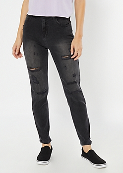 Cello Gray Destructed Straight Leg Jeans