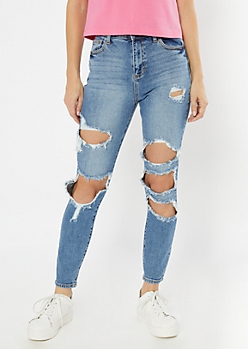 Cello Medium Wash High Rise Destructed Mom Jeans