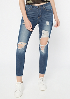 Cello Dark Wash Distressed Cropped Jeggings
