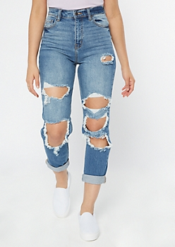 Cello Medium Wash Cutout Rolled Mom Jeans