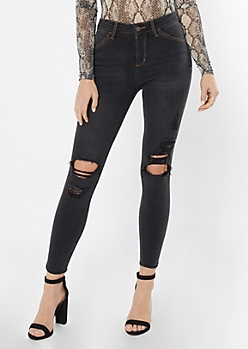 Cello Gray High Waisted Distressed Ankle Jeggings