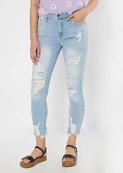 Cello Light Wash Fray Hem Skinny Jeans