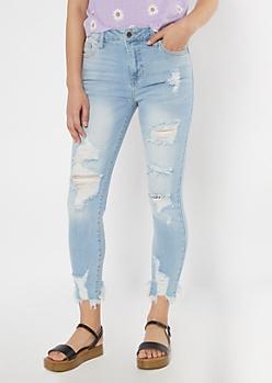 Cello Light Wash Fray Hem Skinny Jeans