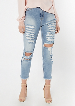 Cello Medium Wash Destructed Boyfriend Jeggings