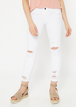 Cello White Mid Rise Ripped Skinny Jeans