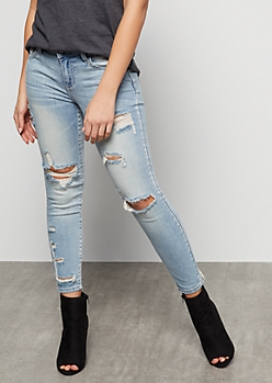 Light Wash Destroyed Low Rise Cropped Jeggings