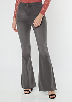 Cello Gray Extra High Waisted Pull On Flare Jeans
