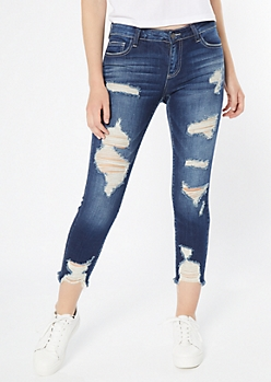 Cello Dark Wash Ripped Frayed Cropped Jeggings