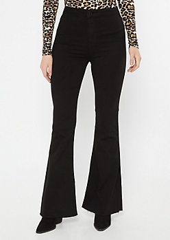 Cello Black Raw Cut Flare Jeans