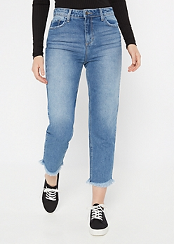 Cello Medium Wash Frayed Straight Leg Jeans