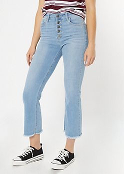 Light Wash High Waisted Button Fly Flare Jeans