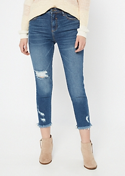 Cello Medium Wash Blown Knee Mom Jeans