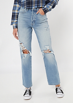 Cello Light Wash Ultra High Rise Torn Knee Dad Jeans