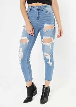 Cello Medium Wash Distressed Straight Leg Jeans