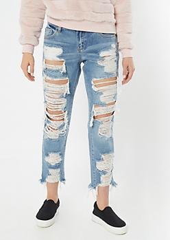 Cello Light Wash Destroyed Boyfriend Jeans