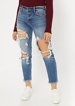 Cello Medium Wash Blown Leg Frayed Jeans