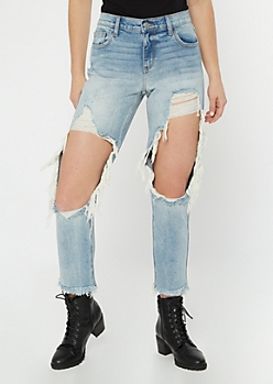 Cello Medium Wash Blown Knee Raw Boyfriend Jeans