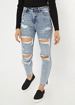 Cello Light Acid Wash Destructed Ankle Jeans