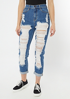 Cello Medium Wash Ultra Distressed Cuffed Mom Jeans
