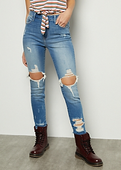 Medium Wash Mid Rise Distressed Cropped Skinny Jeans