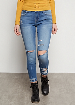 Medium Wash Distressed Knee Low Rise Skinny Jeans