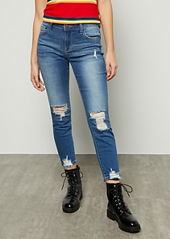 Dark Wash Mid Rise Distressed Cropped Skinny Jeans