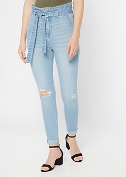 Cello Light Wash Paperbag Waist Skinny Jeans