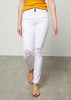 White Ripped Knee Double Button Skinny Jeans