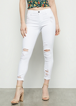 Cello White Distressed Mid Rise Skinny Jeans