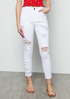 White Distressed Low Rise Cropped Skinny Jeans