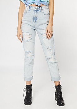 Cello Light Wash Distressed Skinny Mom Jeans
