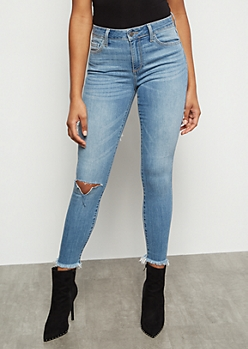 Medium Wash Cutout Cropped Skinny Jeans