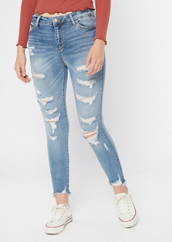 Cello Medium Wash Ripped Frayed Cropped Jeggings